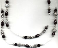 Black and Silver Bead Necklace - SALE!